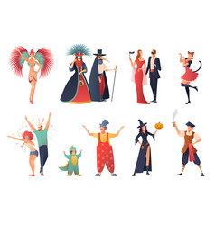carnival party icons set vector image vector image