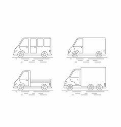 commercial van icons set line icon vector image