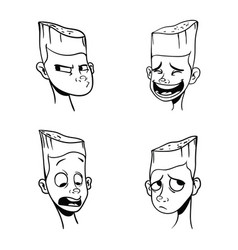 contour pattern of black emotions of a boy with a vector image