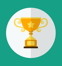 golden cup in a flat style on a green background vector image