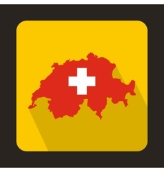 Map and flag of switzerland icon flat style vector