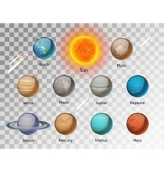 Planets colorful set on white background vector image