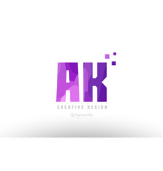 ak a k pink alphabet letter logo combination with vector image