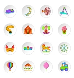 Amusement park icons cartoon style vector