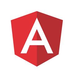 Angular emblem white letter on red bg vector