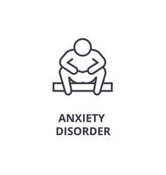 Anxiety disorder thin line icon sign symbol vector