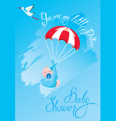 baby shower card invitation etc stork vector image