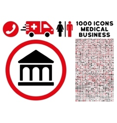 Bank Building Rounded Icon With Medical Bonus vector