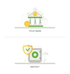 Bank Deposit Vault Icons vector
