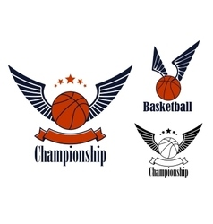 Basketball game emblems with winged balls vector image