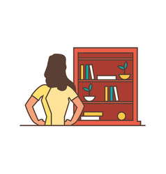 Beautiful young woman with shelving books vector