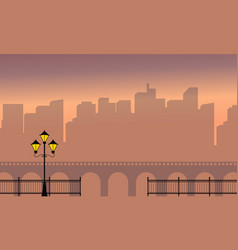 Beauty landscape of town and bridge silhouette vector