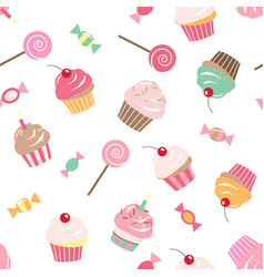 birthday seamless pattern background with cupcakes vector image