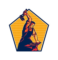 Blacksmith Worker Striking Sledgehammer Anvil vector image