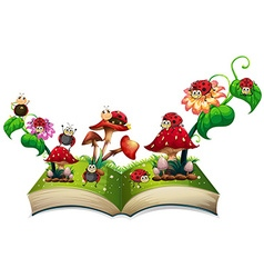 Book of ladybugs and mushroom vector image