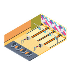 Bowling alley isometric vector