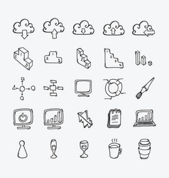 business doodle icons set drawing sketch vector image