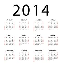 Calendar for 2014 on white background vector image