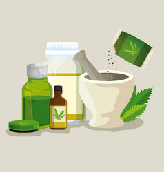 Cannabis ointment with medicine bottles and stone vector