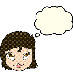 cartoon woman smiling with thought bubble vector image