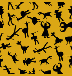 caveman seamless pattern at yellow background vector image