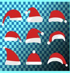 christmas hat set santa claus hats collection vector image