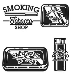 color vintage tobacco shop emblems vector image
