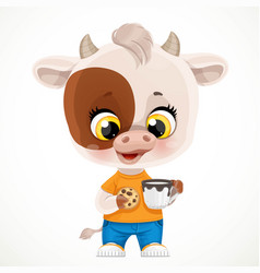 cute cartoon baby calf with cookies and a cup vector image