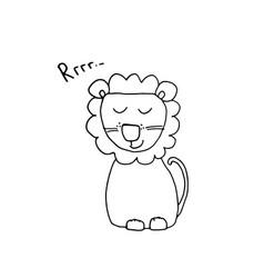 Cute lion cartoon animal baby and children print vector