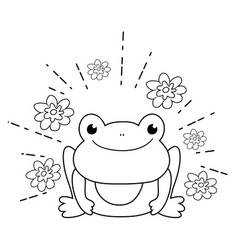 cute toad with flowers garden character vector image
