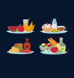 Daily diet meals healthy food for breakfast vector