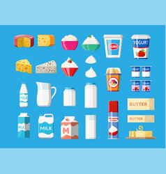 Dairy products set collection milk food vector