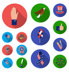 Day of patriot holiday flat icons in set vector