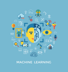 digital machine learning vector image