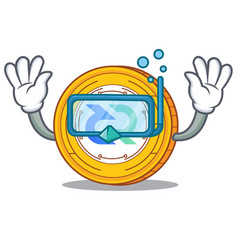 Diving decred coin character cartoon vector