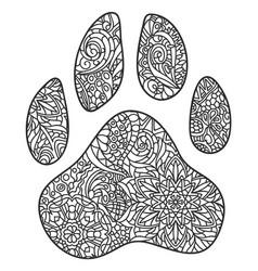 dog paw print entangle vector image