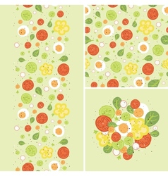 eggs and salad set seamless pattern and borders vector image