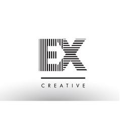 Ex e x black and white lines letter logo design vector