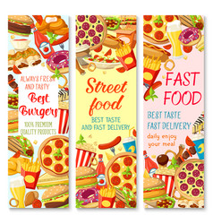 Fast food restaurant menu banner with snack meal vector