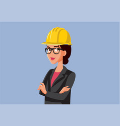 female contractor wearing hard hat vector image