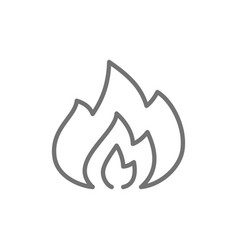 Flames fire line icon vector