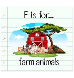 Flashcard letter F is for farm animals vector