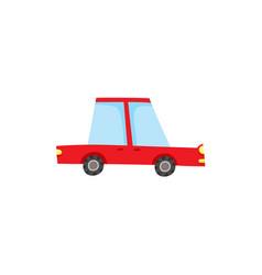 Flat cartoon red sedan car isolated vector