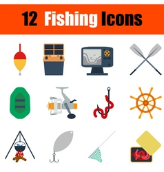 Flat design fishing icon set vector