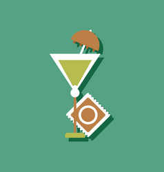 Flat icon design condom and cocktail in sticker vector