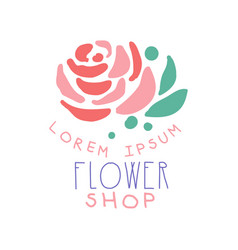 flower shop logo template with rose flower hand vector image vector image