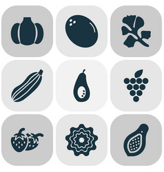 Food icons set with papaya parsley virgin and vector