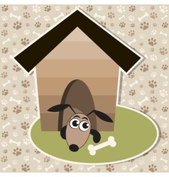 Funny dog in the house vector