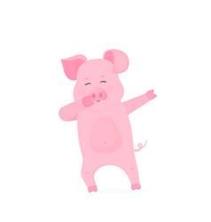 Funny pig dabbing cartoon character dancing piggy vector