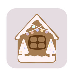 Gingerbread house with christmas candies vector